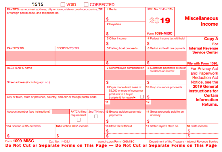 2019 Form 1099-MISC
