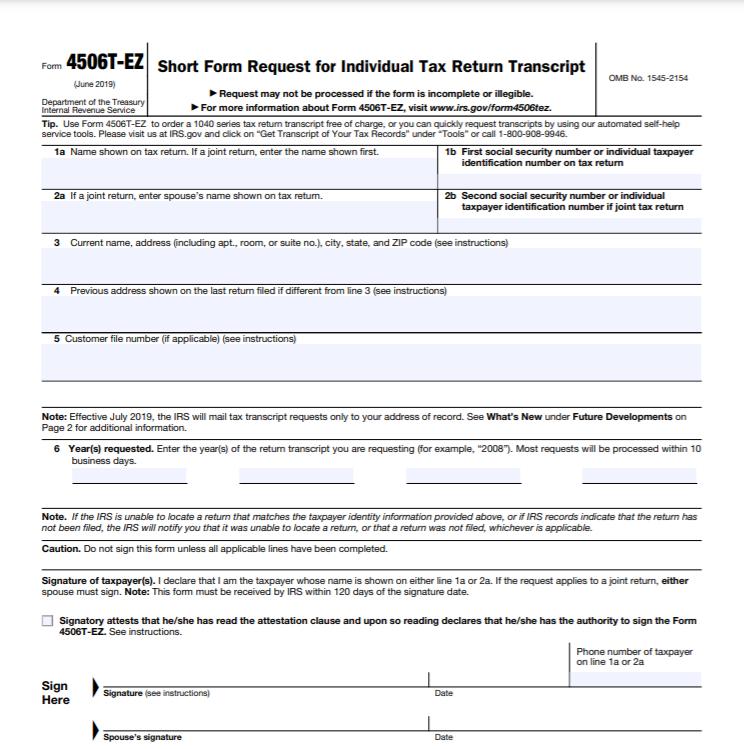Form 4506T-EZ (Rev. January 2019)