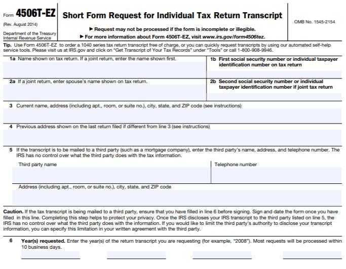 Form 4506T-EZ (Rev. August 2014)