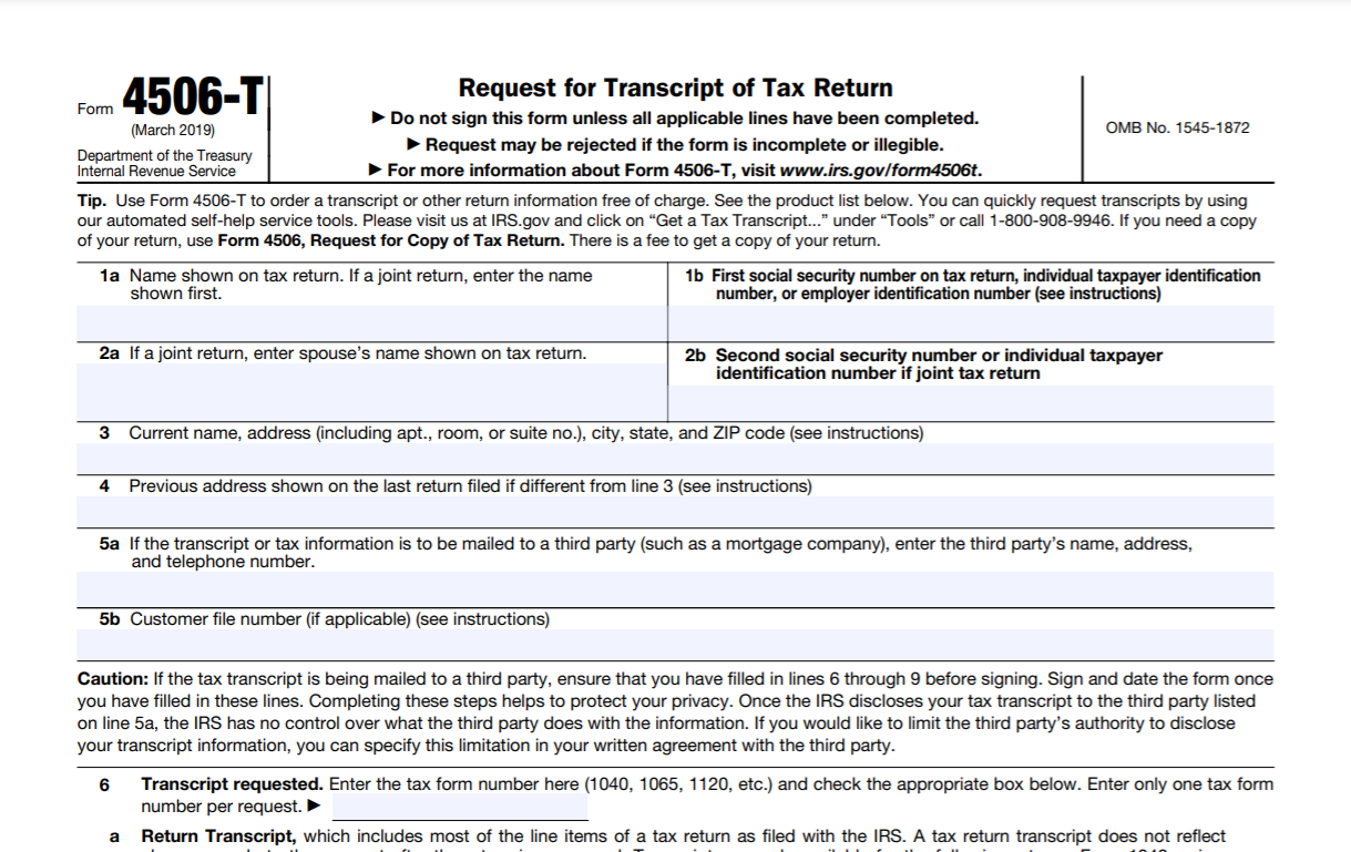 Form 4506-T (2019)
