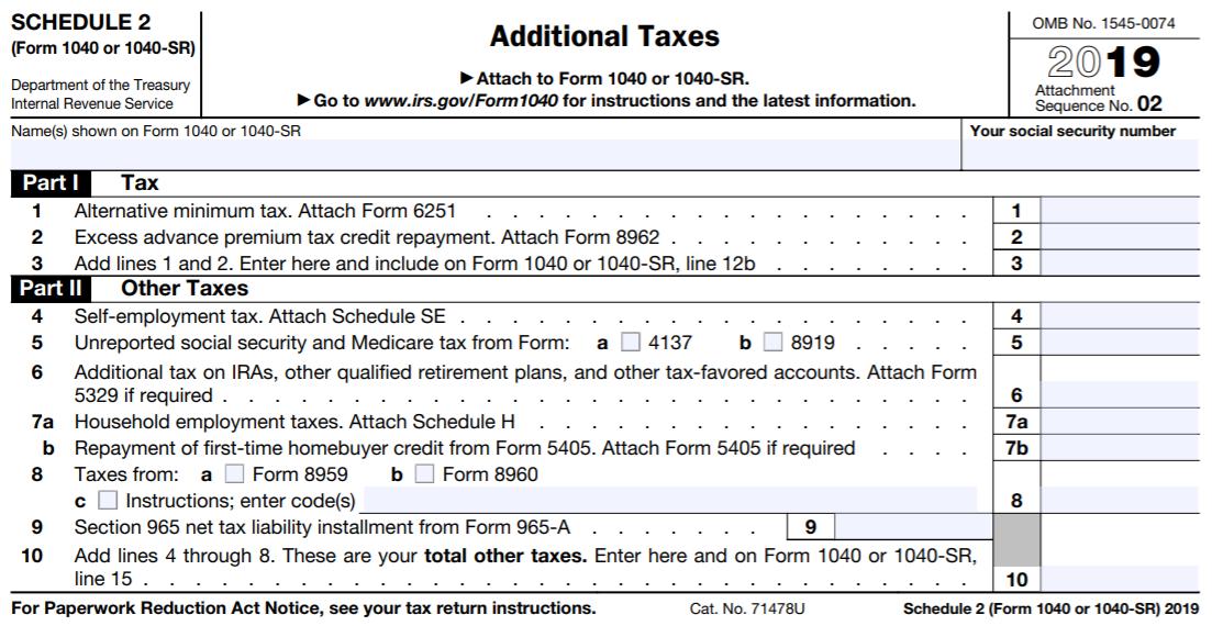 2019 Schedule 2 (Form 1040 or 1040-SR)