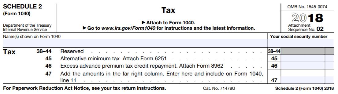 2018 Schedule 2 (Form 1040)