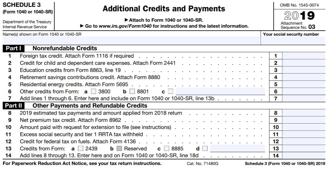 2019 Schedule 3 (Form 1040 or 1040-SR)